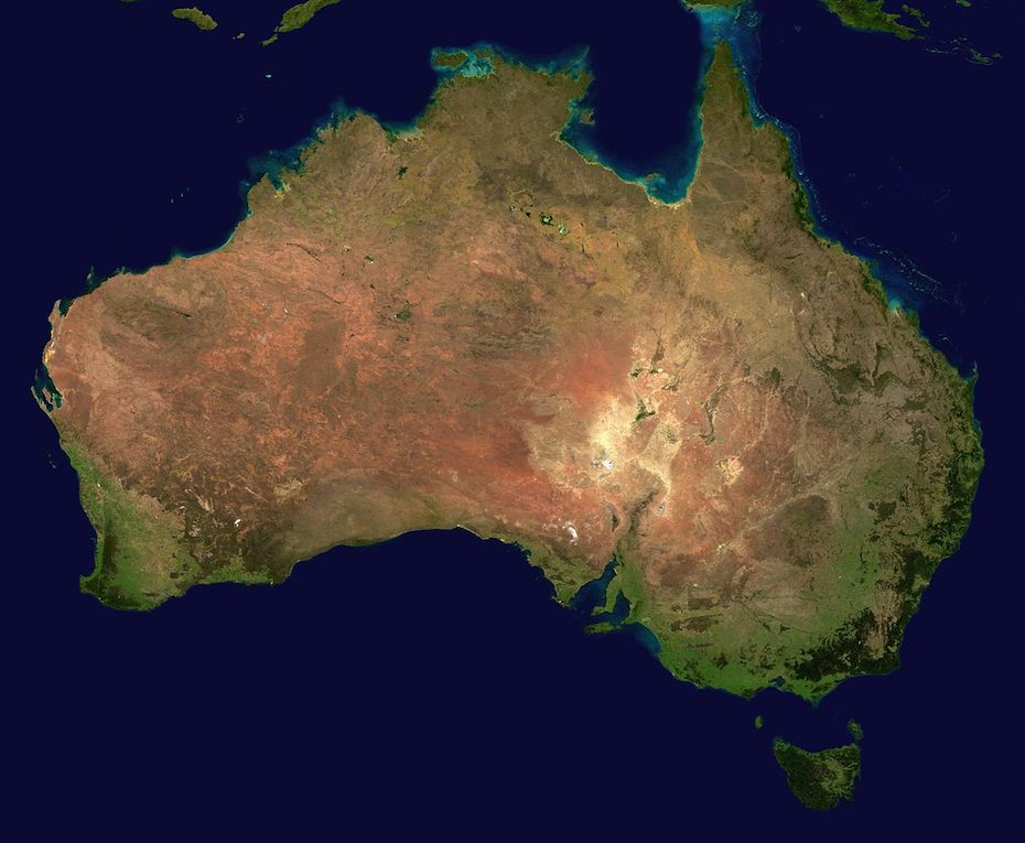 This image was sourced through Wikimedia Commons where  it has bee sourced from NASA and is listed in the public domain. http://commons.wikimedia.org/wiki/File:Australia_satellite_plane.jpg